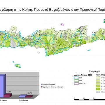 Ποσοστά εργαζομένων στον Πρωτογενή Τομέα στις ΤΚ της Κρήτης