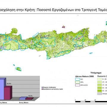 Ποσοστά εργαζομένων στον Τριτογενή Τομέα στις ΤΚ της Κρήτης